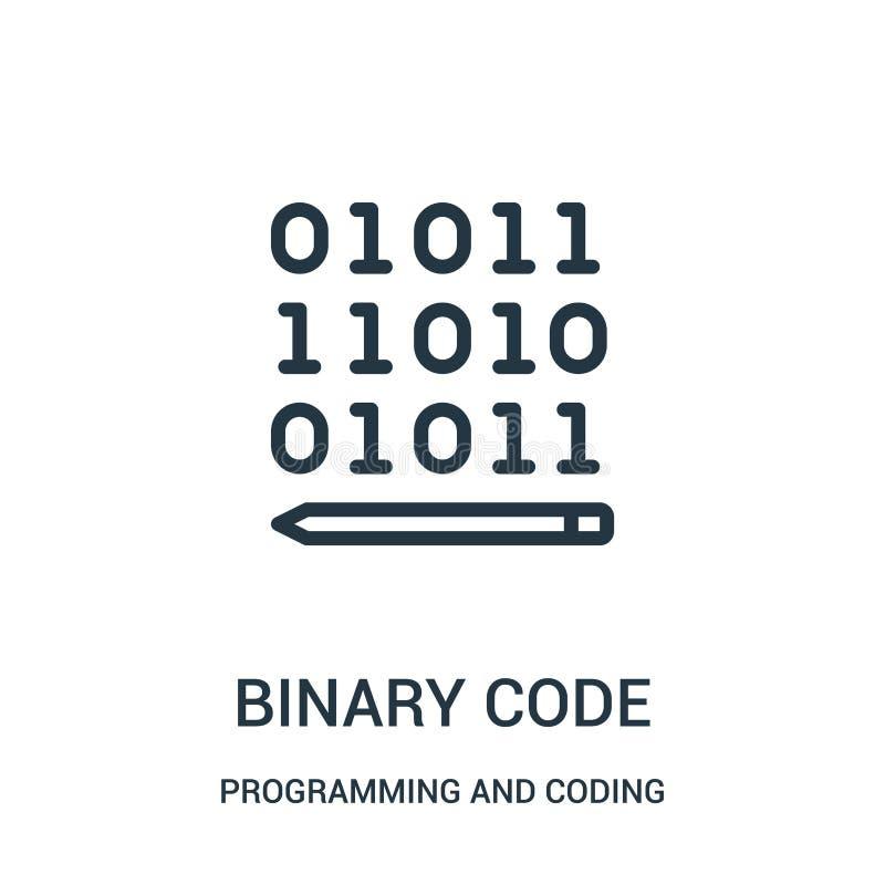вектор значка бинарного кода от программирования и кодировать собрания Тонкая линия иллюстрация вектора значка плана бинарного ко бесплатная иллюстрация