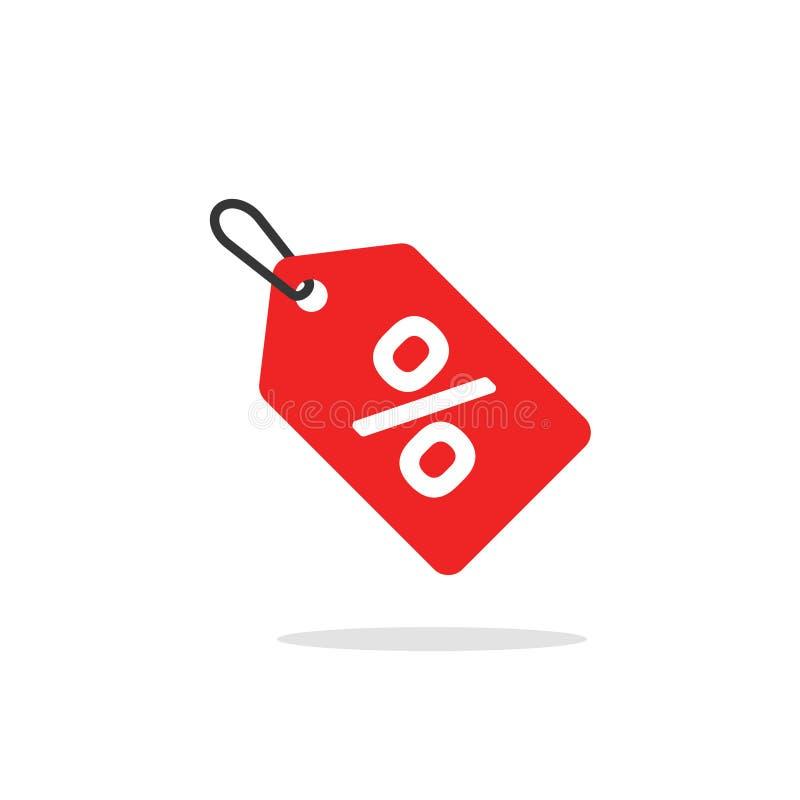 Вектор значка бирки продажи, плоский красный цвет ярлыка скидки шаржа покрашенный на веревочке, символе зазора, специальной плате бесплатная иллюстрация