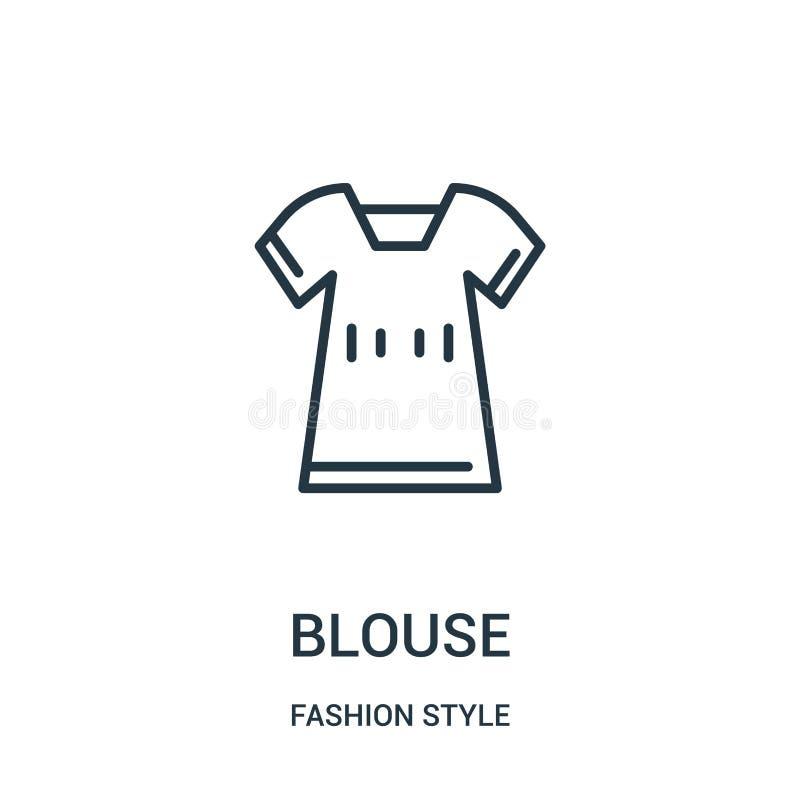 вектор значка блузки от собрания стиля моды Тонкая линия иллюстрация вектора значка плана блузки иллюстрация штока