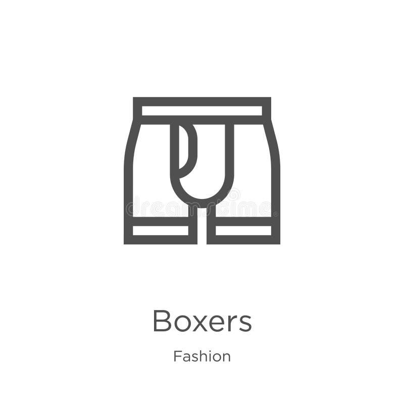 вектор значка боксеров от собрания моды Тонкая линия иллюстрация вектора значка плана боксеров План, тонкая линия значок боксеров иллюстрация вектора