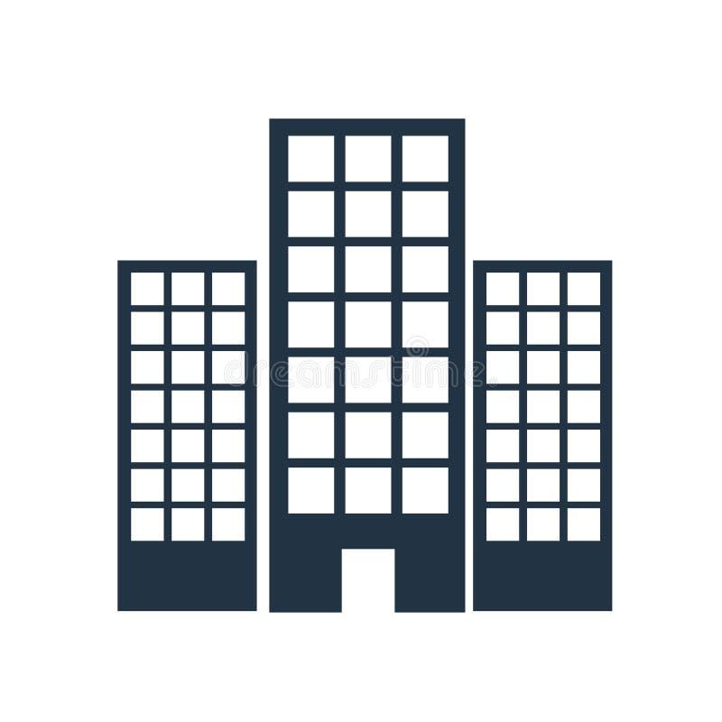 Вектор значка большого административного здания изолированный на белой предпосылке, знаке большого административного здания иллюстрация вектора
