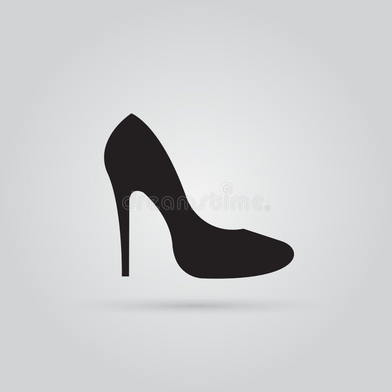 Вектор значка ботинка высокой пятки, твердая иллюстрация логотипа иллюстрация вектора