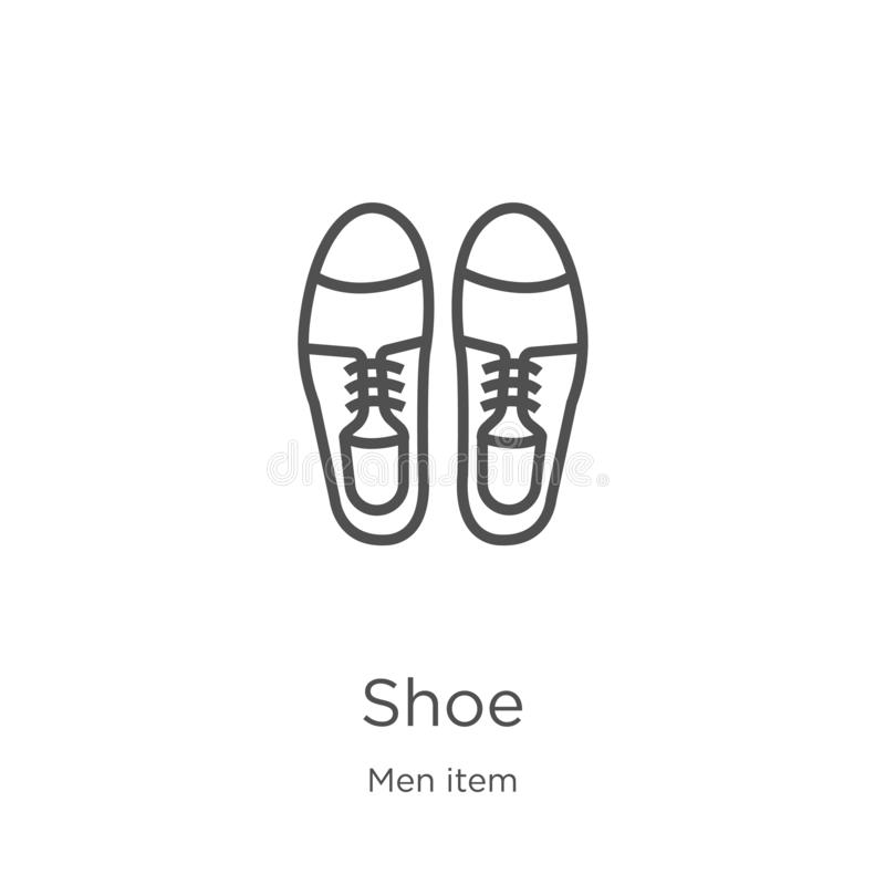 вектор значка ботинка от собрания деталя людей Тонкая линия иллюстрация вектора значка плана ботинка План, тонкая линия значок бо иллюстрация вектора