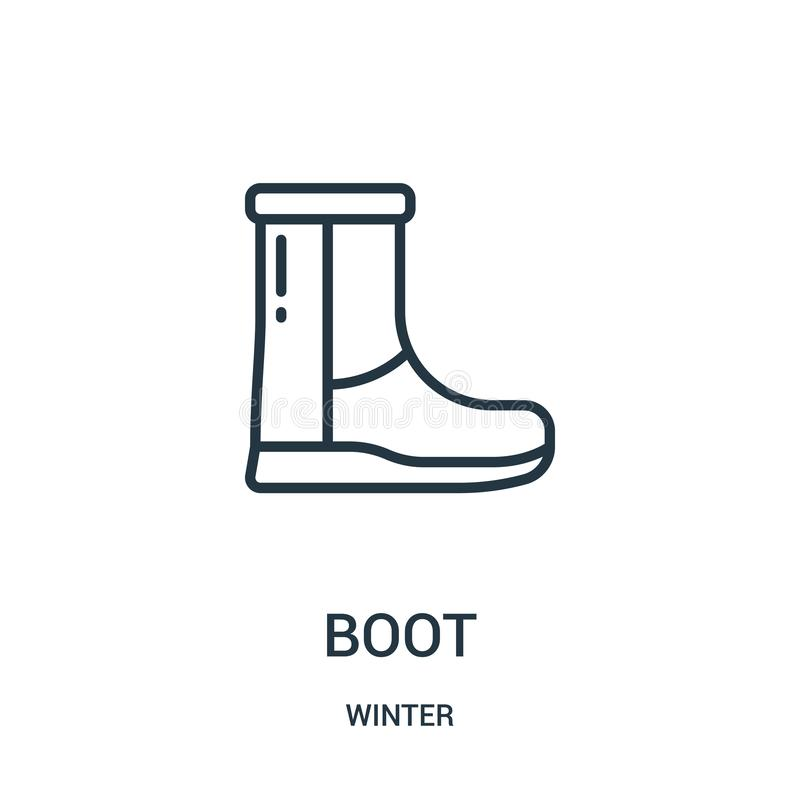 вектор значка ботинка от собрания зимы Тонкая линия иллюстрация вектора значка плана ботинка Линейный символ для пользы на сети и иллюстрация вектора