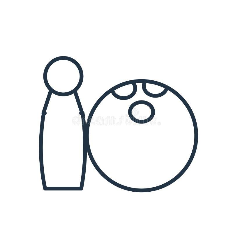 Вектор значка боулинга изолированный на белой предпосылке, знаке боулинга иллюстрация штока