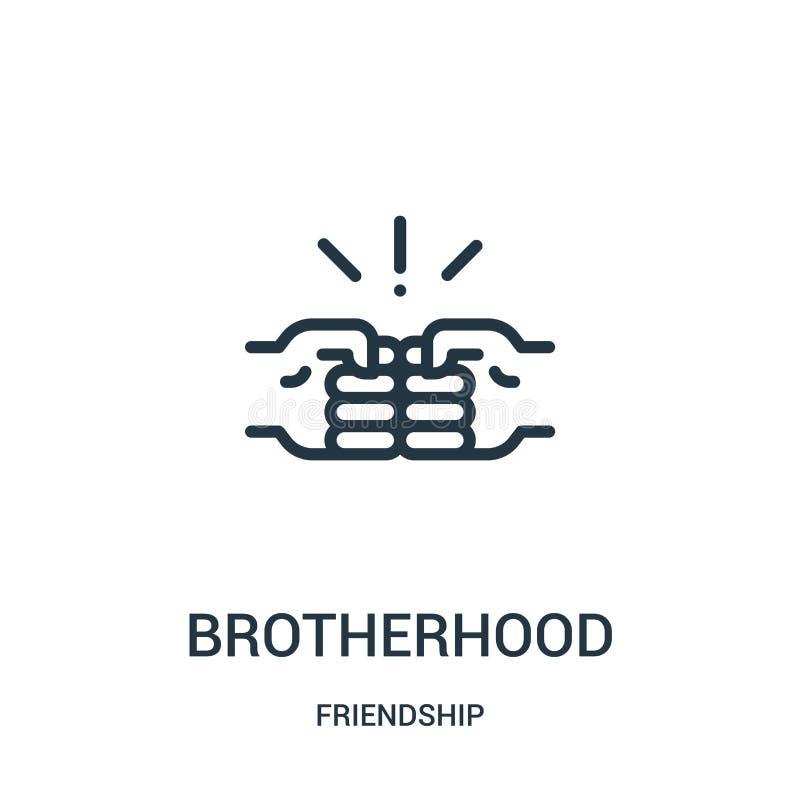 вектор значка братства от собрания приятельства Тонкая линия иллюстрация вектора значка плана братства Линейный символ для пользы иллюстрация штока