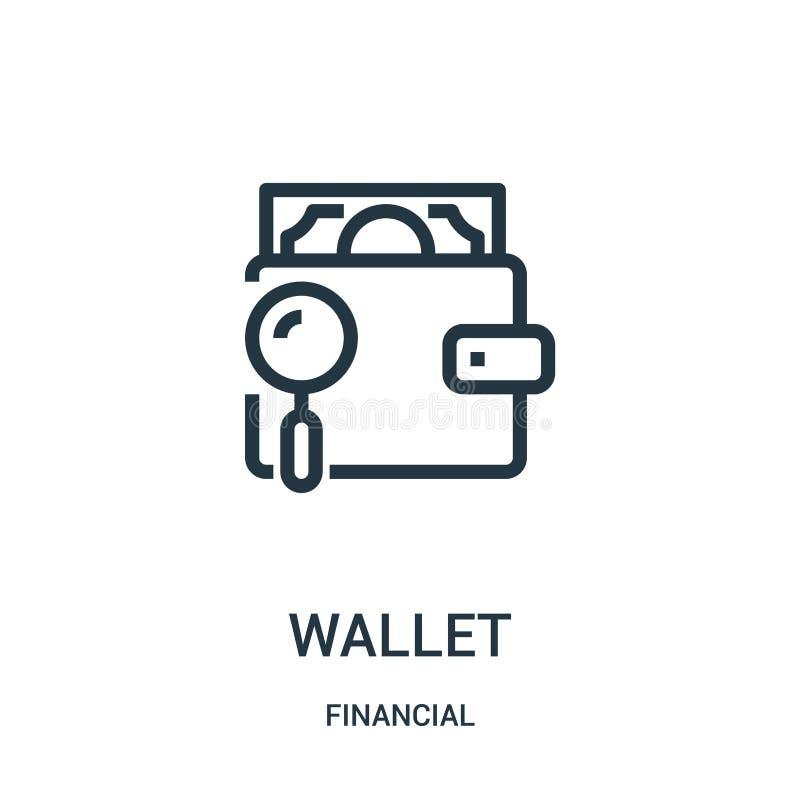 вектор значка бумажника от финансового собрания Тонкая линия иллюстрация вектора значка плана бумажника Линейный символ для польз иллюстрация вектора