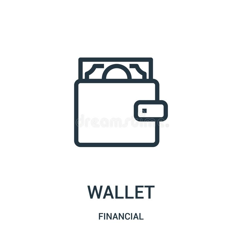 вектор значка бумажника от финансового собрания Тонкая линия иллюстрация вектора значка плана бумажника Линейный символ для польз бесплатная иллюстрация