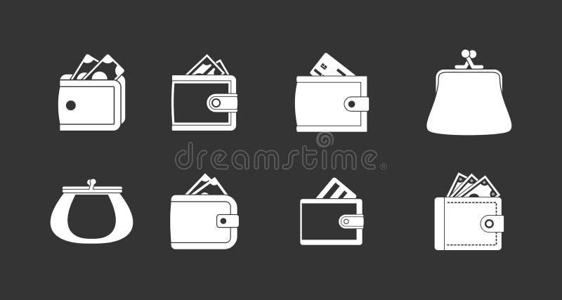 Вектор значка бумажника установленный серый иллюстрация вектора