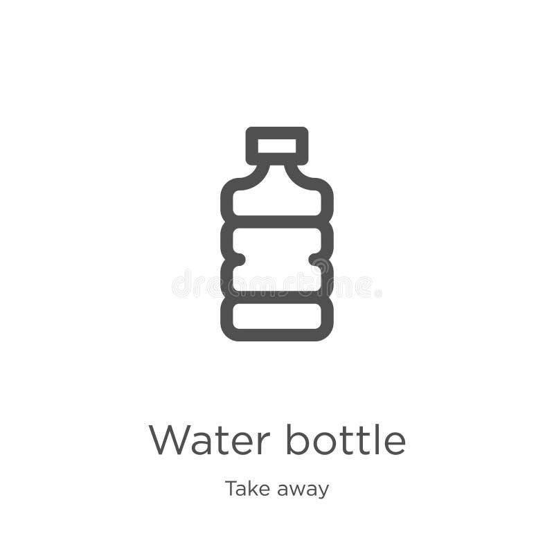 вектор значка бутылки с водой от взятия собрания прочь Тонкая линия иллюстрация вектора значка плана бутылки с водой План, тонкая бесплатная иллюстрация