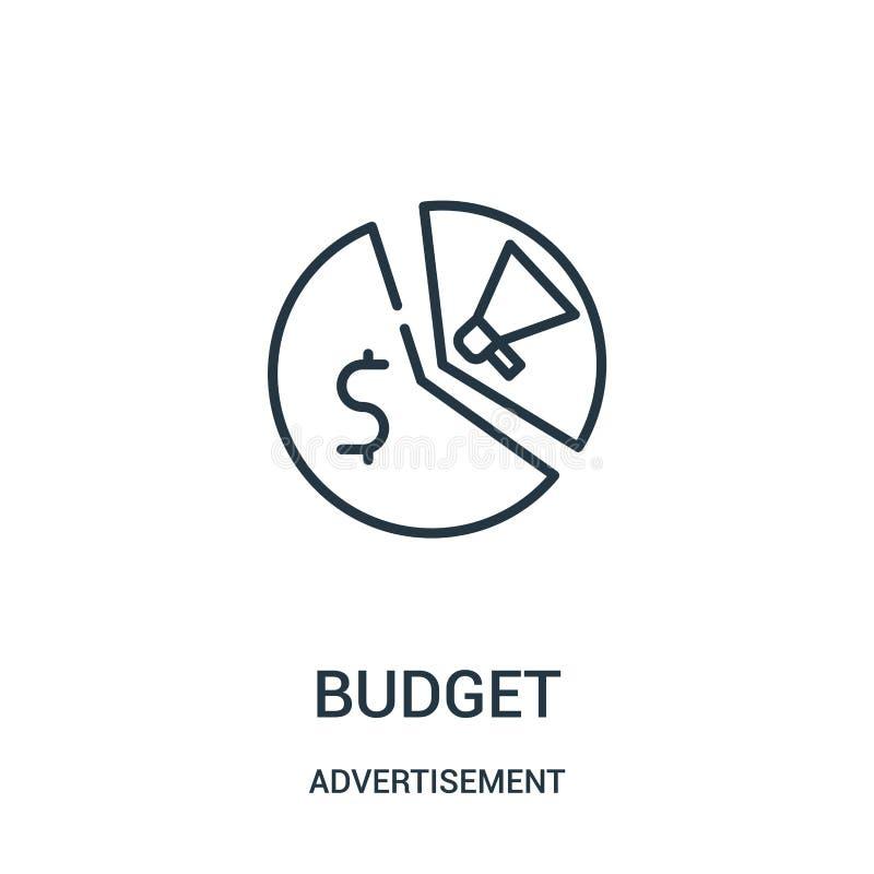 вектор значка бюджета от собрания рекламы Тонкая линия иллюстрация вектора значка плана бюджета иллюстрация штока