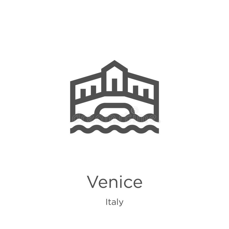вектор значка Венеции от собрания Италии Тонкая линия иллюстрация вектора значка плана Венеции План, тонкая линия значок Венеции  иллюстрация вектора