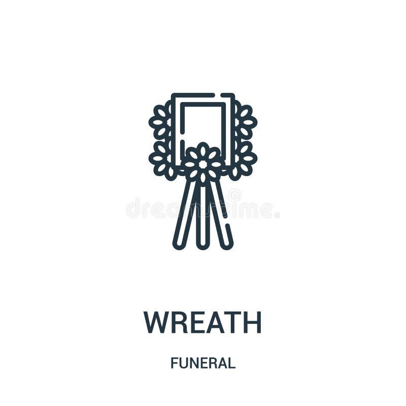 вектор значка венка от похоронного собрания Тонкая линия иллюстрация вектора значка плана венка Линейный символ для пользы на сет иллюстрация штока