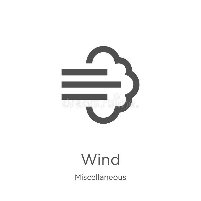вектор значка ветра от разностороннего собрания Тонкая линия иллюстрация вектора значка плана ветра План, тонкая линия значок вет иллюстрация штока
