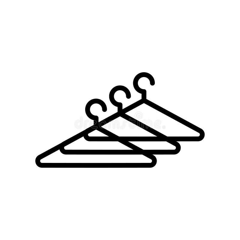 Вектор значка вешалки изолированный на белых предпосылке, знаке вешалки, линии и элементах плана в линейном стиле иллюстрация штока