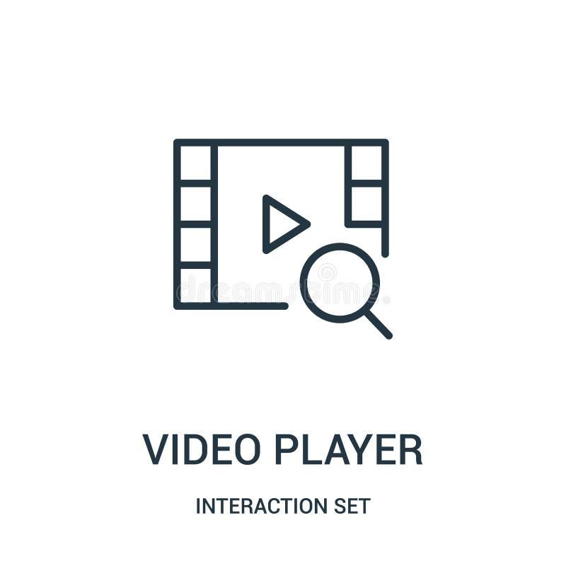 вектор значка видеоплеера от собрания набора взаимодействия Тонкая линия иллюстрация вектора значка плана видеоплеера бесплатная иллюстрация