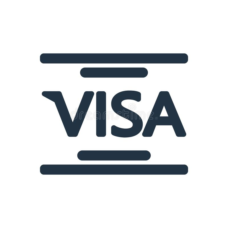Вектор значка визы изолированный на белой предпосылке, знаке визы иллюстрация штока