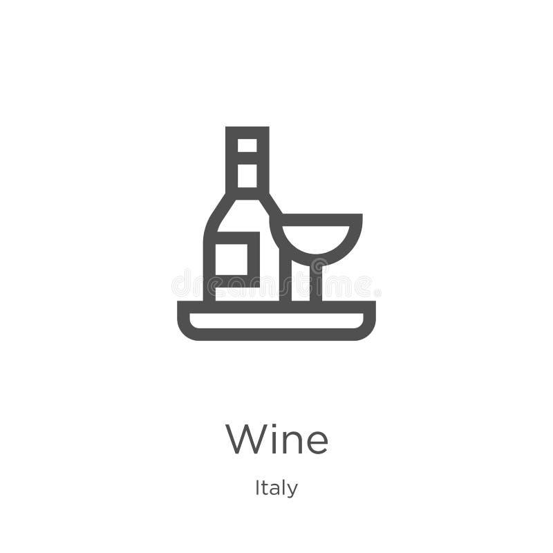 вектор значка вина от собрания Италии Тонкая линия иллюстрация вектора значка плана вина План, тонкая линия значок вина для вебса бесплатная иллюстрация