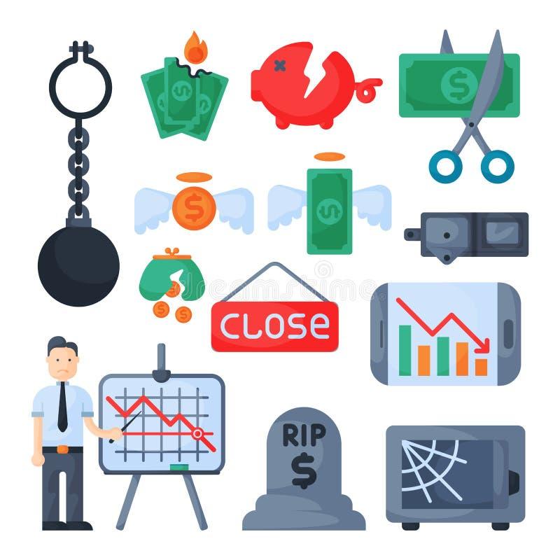 Вектор значка вклада дизайна финансов банковского дела экономики проблемы концепции символов кризиса иллюстрация штока