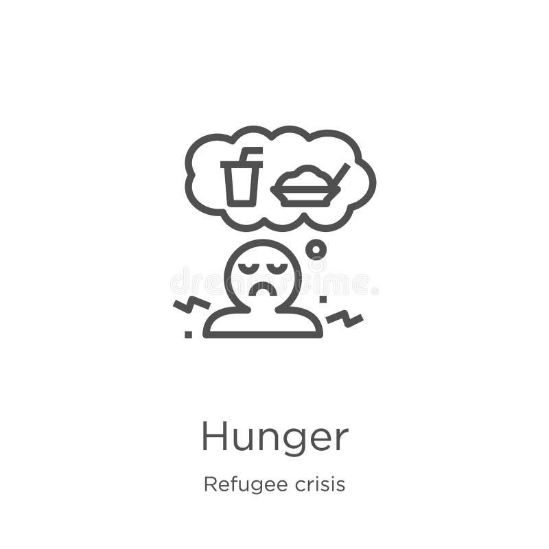 вектор значка голода от собрания кризиса беженца Тонкая линия иллюстрация вектора значка плана голода План, тонкая линия голод бесплатная иллюстрация