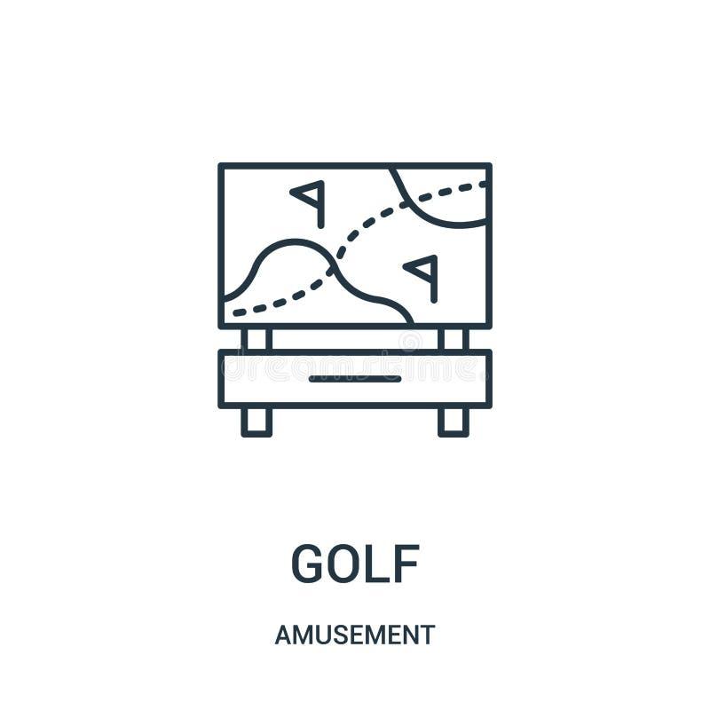 вектор значка гольфа от собрания занятности Тонкая линия иллюстрация вектора значка плана гольфа бесплатная иллюстрация