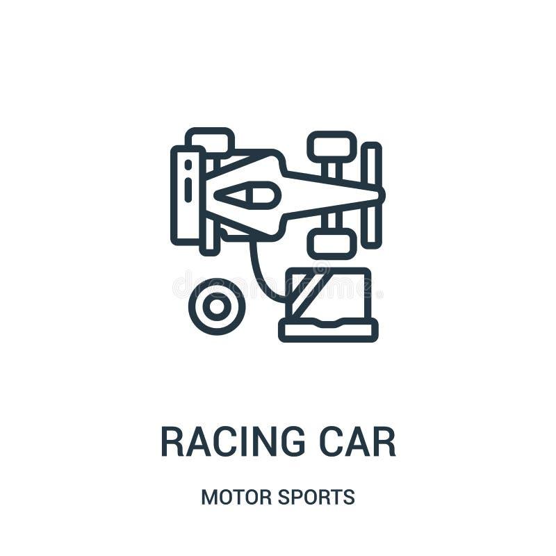 вектор значка гоночного автомобиля от собрания автоспортов Тонкая линия иллюстрация вектора значка плана гоночного автомобиля r иллюстрация вектора