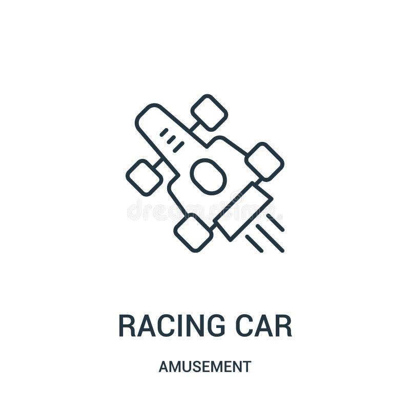вектор значка гоночного автомобиля от собрания занятности Тонкая линия иллюстрация вектора значка плана гоночного автомобиля иллюстрация вектора