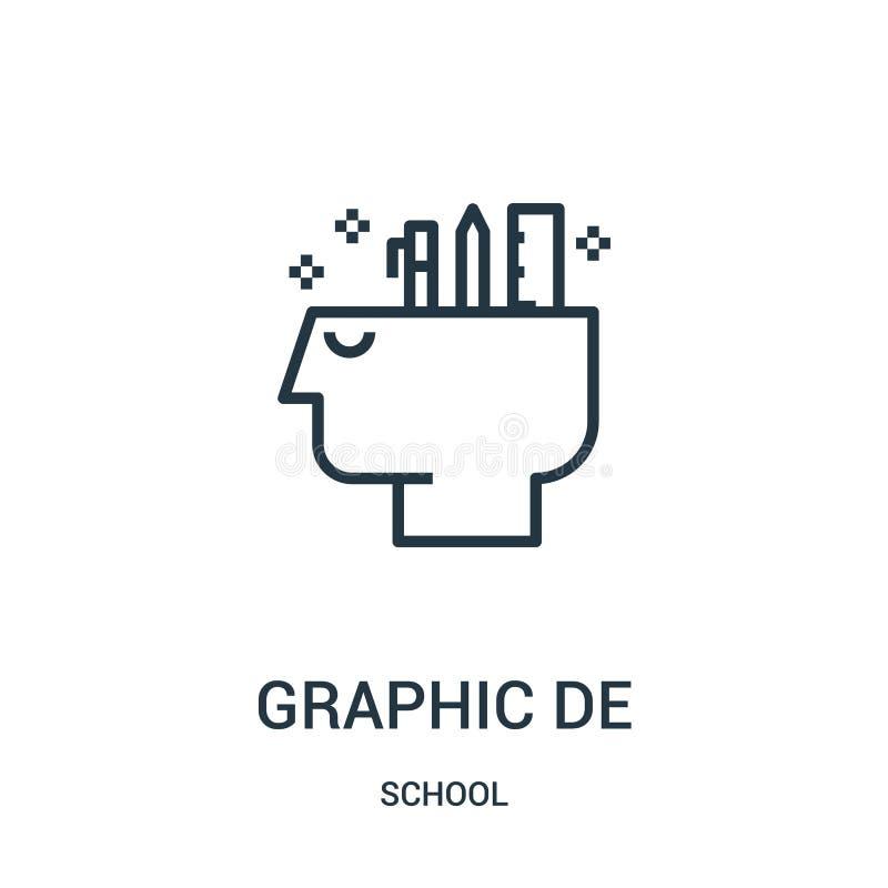 вектор значка графического дизайна от собрания школы Тонкая линия иллюстрация вектора значка плана графического дизайна Линейный  иллюстрация вектора