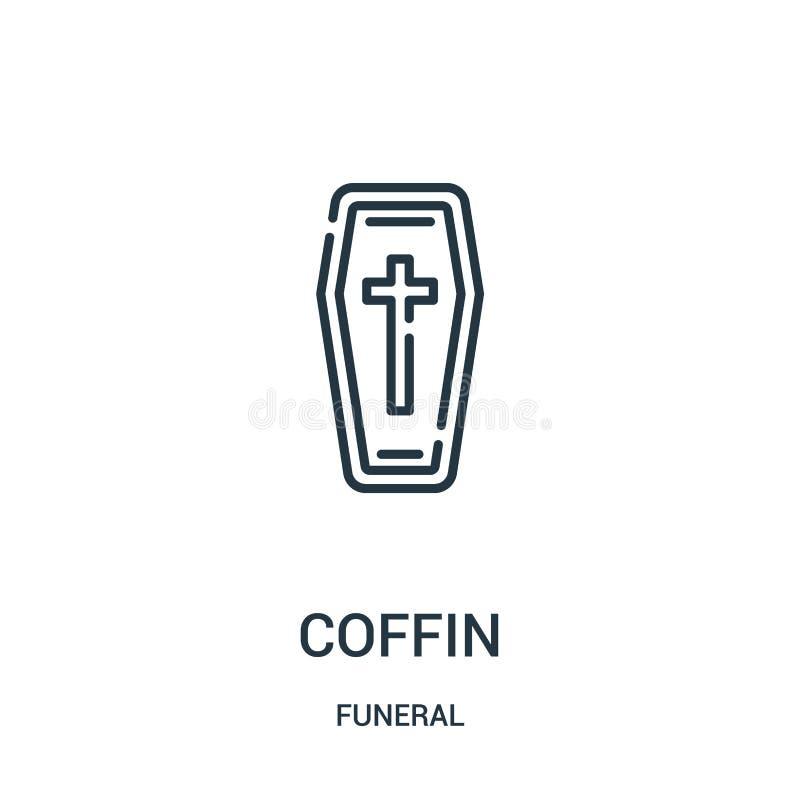 вектор значка гроба от похоронного собрания Тонкая линия иллюстрация вектора значка плана гроба Линейный символ для пользы на сет бесплатная иллюстрация