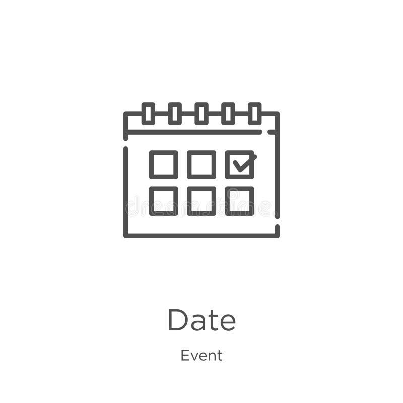 вектор значка даты от собрания события Тонкая линия иллюстрация вектора значка плана даты План, тонкая линия значок даты для вебс иллюстрация вектора