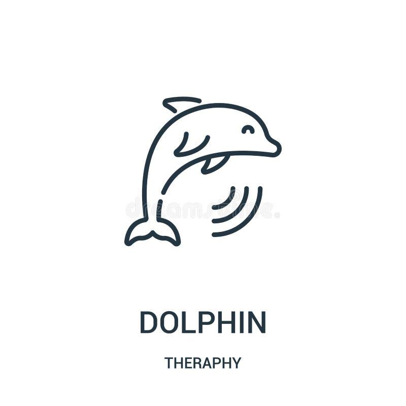 вектор значка дельфина от собрания theraphy Тонкая линия иллюстрация вектора значка плана дельфина бесплатная иллюстрация