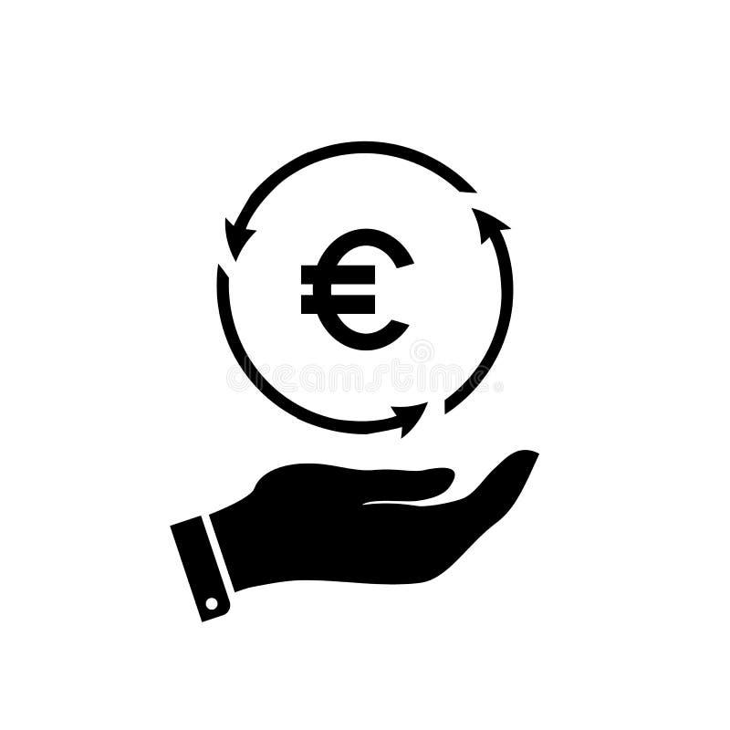 Вектор значка денег евро в наличии для вклада иллюстрация вектора