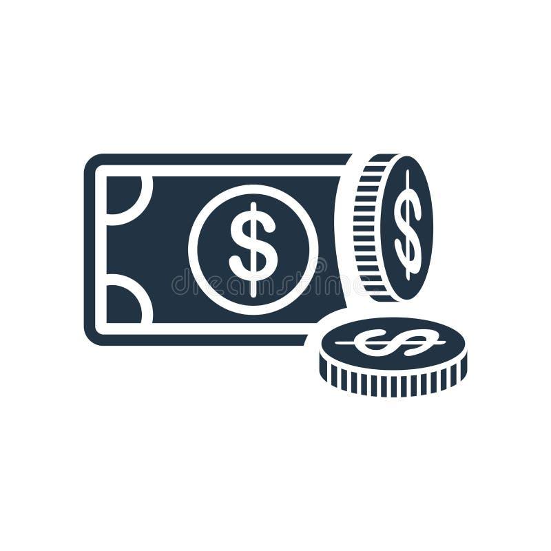 Вектор значка денег изолированный на белой предпосылке, знаке денег иллюстрация штока