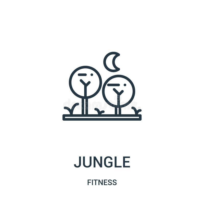 вектор значка джунглей от собрания фитнеса Тонкая линия иллюстрация вектора значка плана джунглей Линейный символ для пользы на с иллюстрация штока