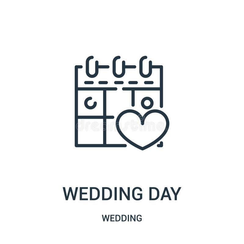 вектор значка дня свадьбы от собрания свадьбы Тонкая линия иллюстрация вектора значка плана дня свадьбы Линейный символ для польз иллюстрация штока