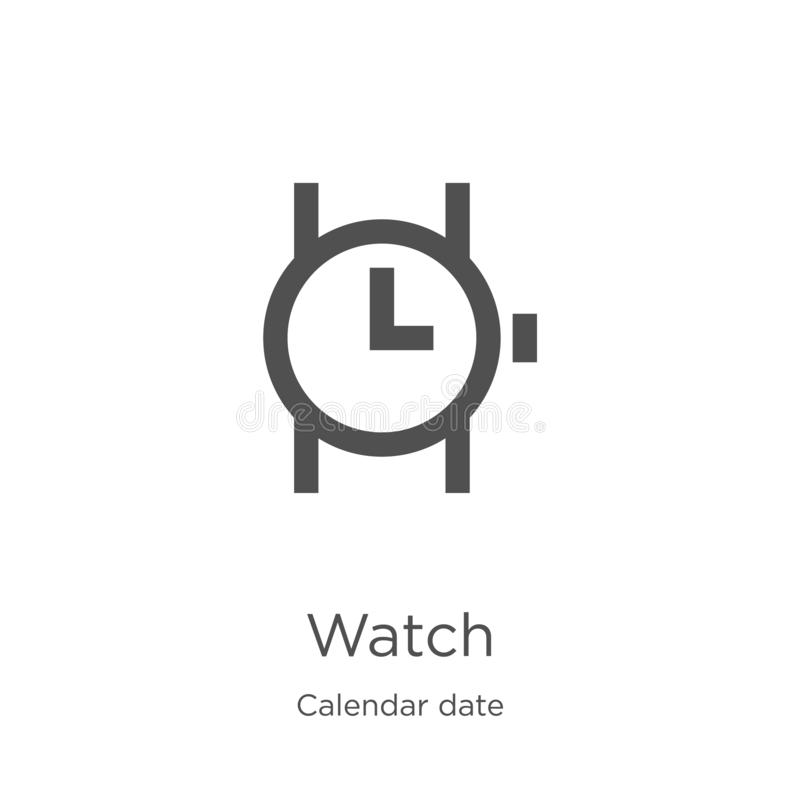 вектор значка дозора от собрания даты календаря Тонкая линия иллюстрация вектора значка плана дозора План, тонкая линия значок до иллюстрация штока
