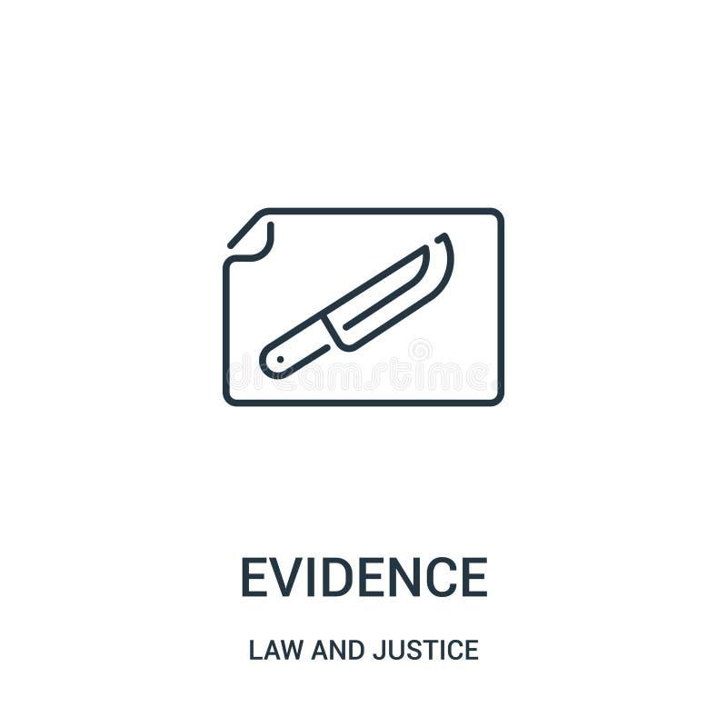 вектор значка доказательства от собрания закона и правосудия Тонкая линия иллюстрация вектора значка плана доказательства Линейны иллюстрация вектора