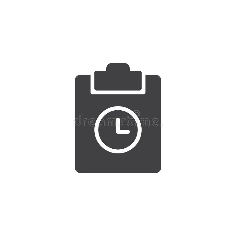 Вектор значка доски сзажимом для бумаги и часов иллюстрация штока
