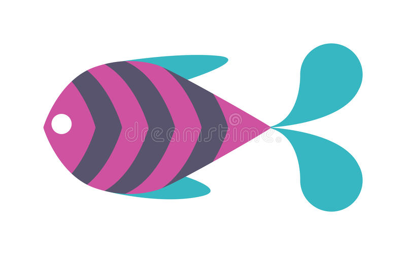 Вектор значка декоративных рыб плоский на белой предпосылке иллюстрация вектора