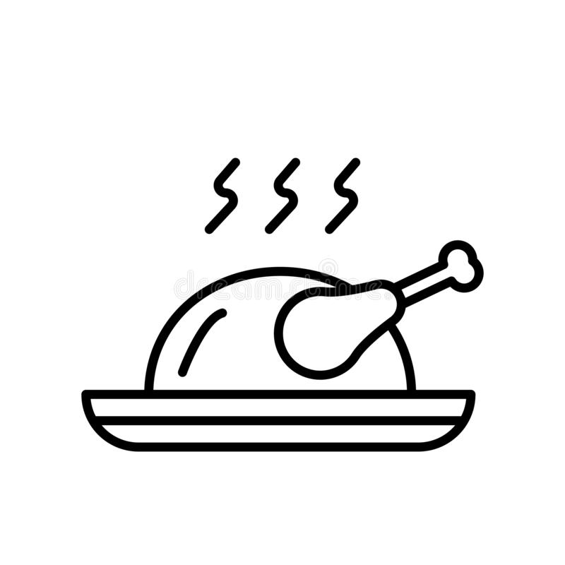 Вектор значка жареного цыпленка изолированный на белой предпосылке, знаке жареного цыпленка, тонкой линии элементах дизайна в сти иллюстрация штока