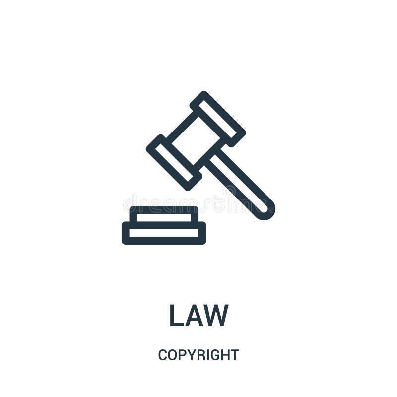 вектор значка закона от собрания авторского права Тонкая линия иллюстрация вектора значка плана закона иллюстрация вектора