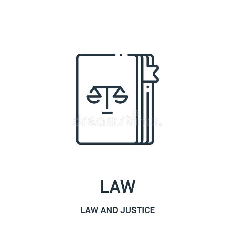 вектор значка закона от собрания закона и правосудия Тонкая линия иллюстрация вектора значка плана закона Линейный символ для пол бесплатная иллюстрация