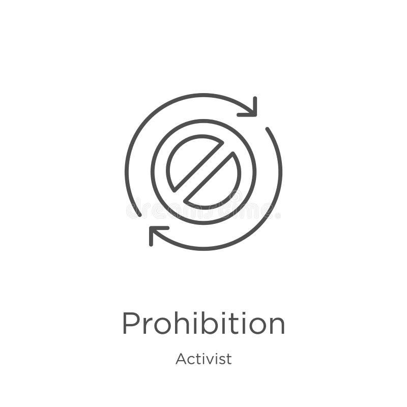 вектор значка запрета от собрания активиста Тонкая линия иллюстрация вектора значка плана запрета План, тонкая линия иллюстрация вектора
