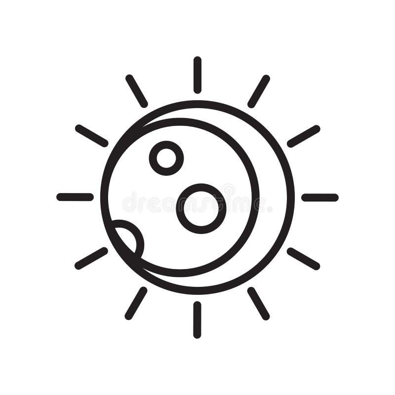 Вектор значка затмения изолированный на белой предпосылке, знаке затмения иллюстрация штока