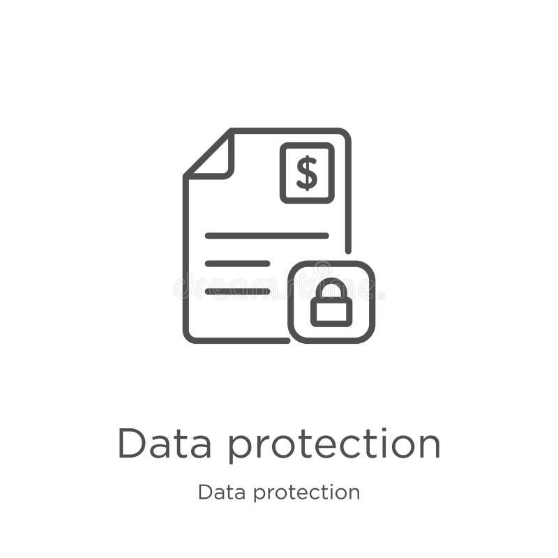 вектор значка защиты данных от собрания защиты данных Тонкая линия иллюстрация вектора значка плана защиты данных r бесплатная иллюстрация