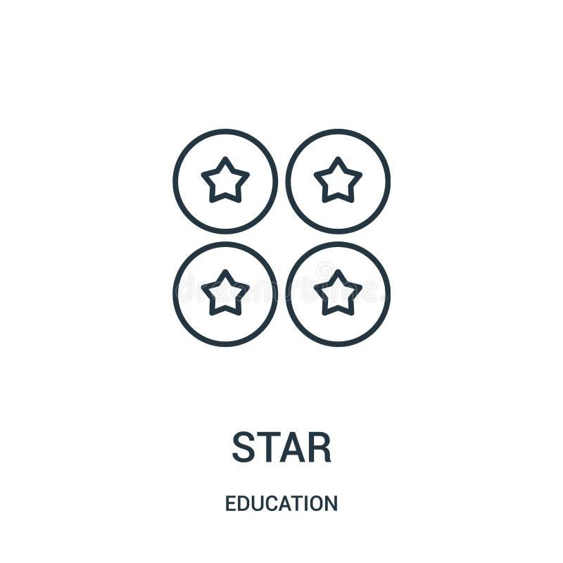 вектор значка звезды от собрания образования Тонкая линия иллюстрация вектора значка плана звезды иллюстрация вектора