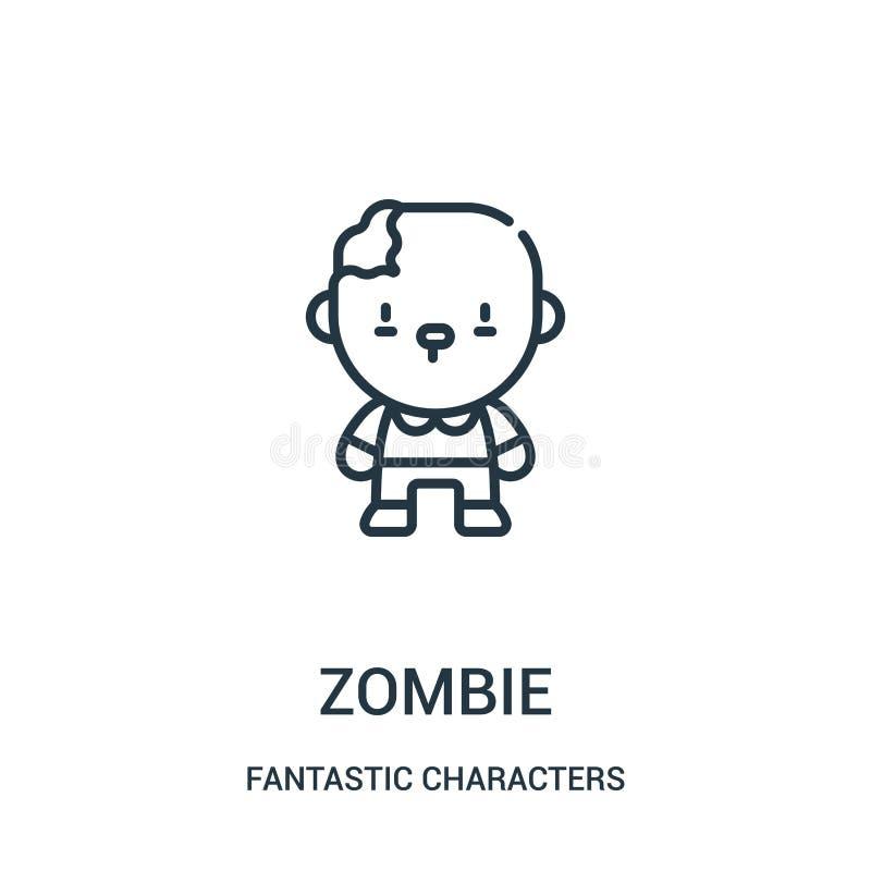 вектор значка зомби от фантастического собрания характеров Тонкая линия иллюстрация вектора значка плана зомби иллюстрация штока