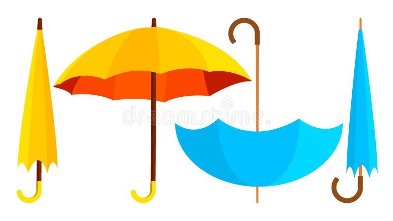 Вектор значка зонтика Раскрытый и закрытый Концепция дождя осени Изолированная иллюстрация шаржа иллюстрация вектора