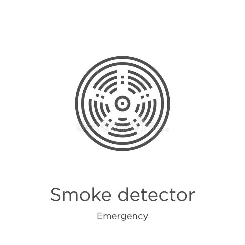 вектор значка индикатора дыма от аварийного собрания Тонкая линия иллюстрация вектора значка плана индикатора дыма План, тонко бесплатная иллюстрация