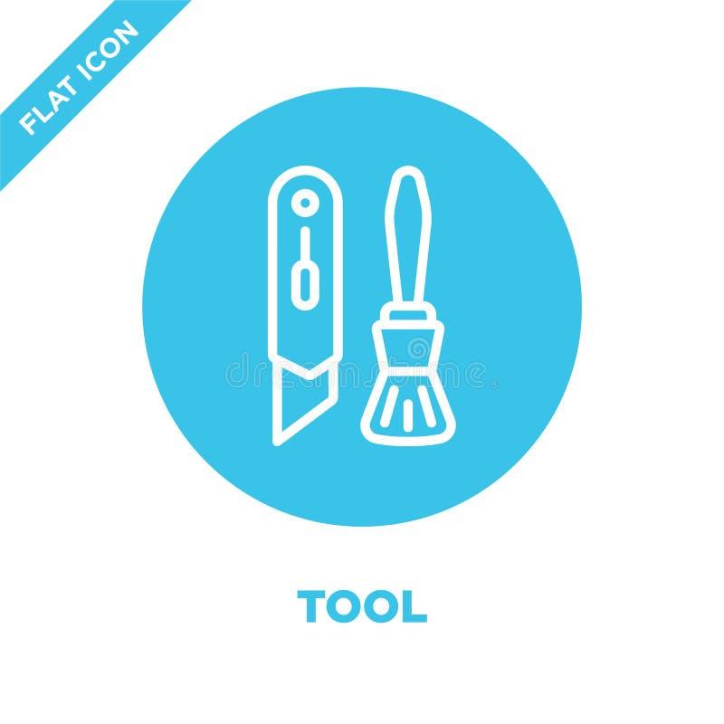 вектор значка инструмента от собрания канцелярских принадлежностей Тонкая линия иллюстрация вектора значка плана инструмента Лине иллюстрация штока